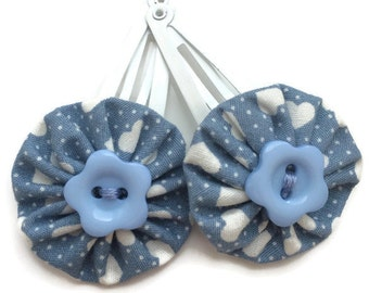 SALE Baby Blue Heart Fabric Hair Clips with Flower Button