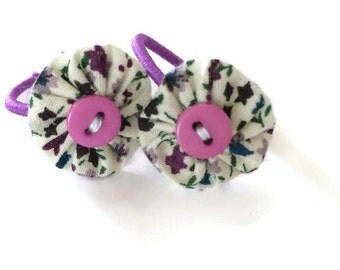 Purple floral Fabric Yoyo Hair Ties