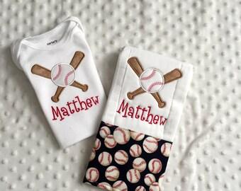 Baby Boy  2 Piece Gift Set, Personalized Bodysuit and Burp Cloth,  Baseball Theme