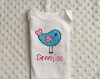 Baby Girl Personalized Bodysuit with Appliqued Bird