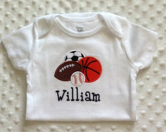 Baby Boy  Personalized  Bodysuit - Sports Balls