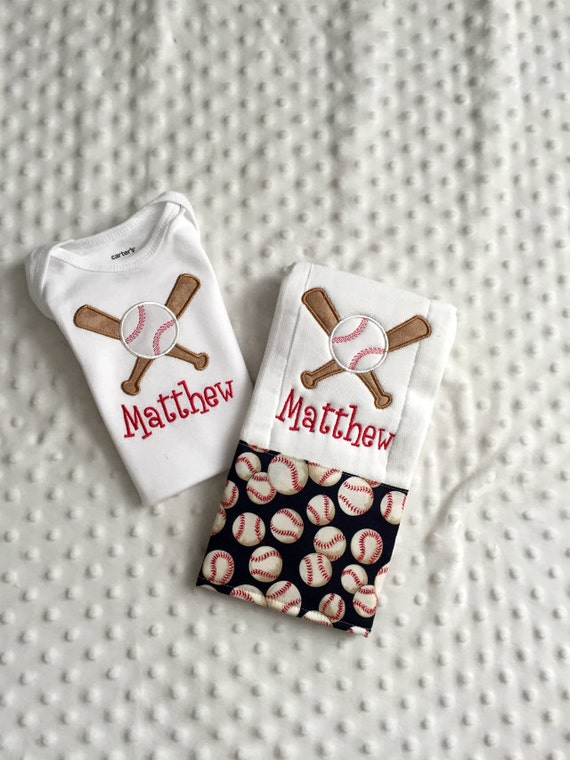 Baby Boy  2 Piece Gift Set, Personalized Onesie and Burp Cloth,  Baseball Theme
