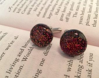 Glass Cufflinks - Mens Jewelry- Dichroic Glass Cufflinks -Multicoloured Starburst Cufflinks -Fused Glass Cufflinks -Mens Gift