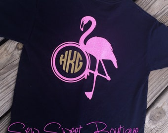 Flamingo Glitter Monogram Tee Shirt