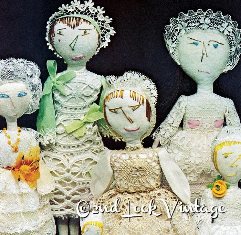 Vintage Sewing Pattern Primitive Rag Soft Dolls Antique