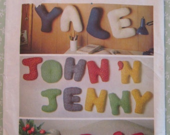 Easy to Sew Alphabet Pillows in One Size Vintage 1970's Jiffy Simplicity Pattern 8139 UNCUT