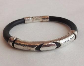 Sterling Silver & Rubber Bracelet 1990s