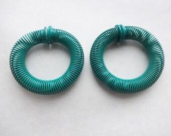 1980s Slinky Spring Earrings in Turquoise Green