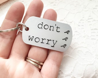 Don't Worry: bob marley 3 little birds lyrics dog tag keychain