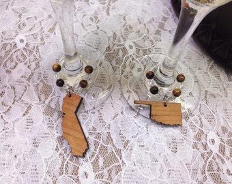 State Wine Glass Charms Genuine Tiger Eye Beads Wooden State Charms Wine Flutes Charms Wedding Toasting Glass Charms Country Toasting Charms