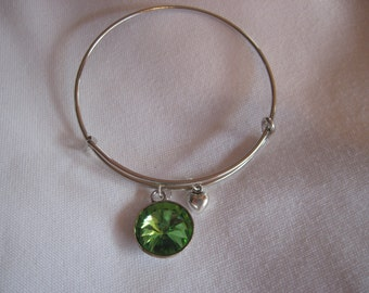 May Stone  Adjustable Silver Bangle Bracelet