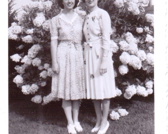 Two Ladies and Flowers - Vintage Photograph - Ephemera - Vernacular Photos (A)