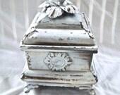 Redesigned  Hand Painted Rustic Tin Storage Box Burnished and Sealed Home Decor Painted Storage Box Keepsake Storage