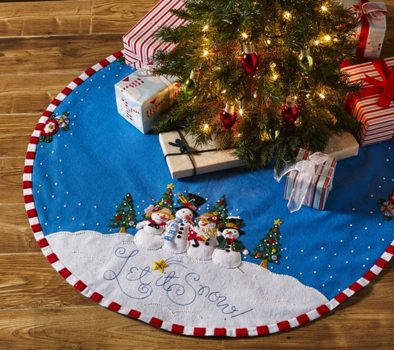 Let it snow sparkly bucilla christmas tree skirt