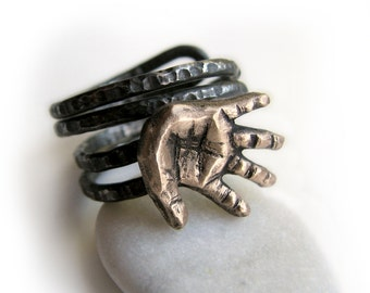 Unique mens ring, hand sculpture