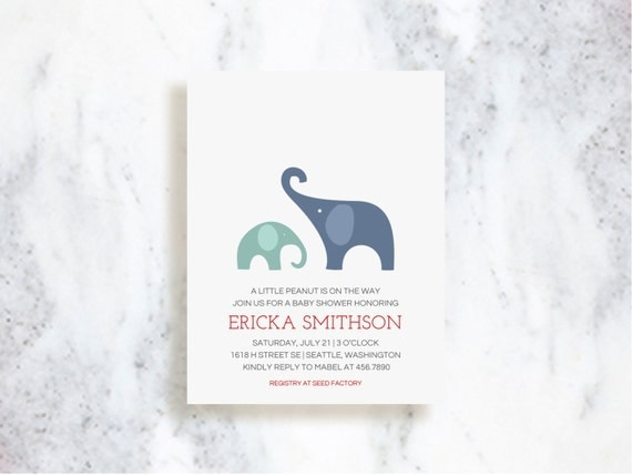 Modern Elephant Invitations - Choose Your Colors