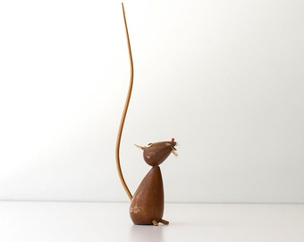Vintage Wooden Mouse Figurine