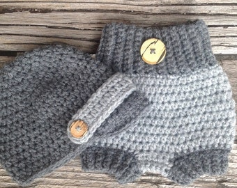 Baby Newsboy Crochet Hat and Diaper Cover, Two Tone, Gray, Grey, Charcoal, Baby Hat, Newborn Diaper Cover, Newborn Crochet Hat