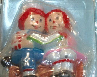 Raggedy Ann and Andy Vanity Fair Paperweight/ Die Cast Raggedy Ann And Andy/ Raggedy Ann Doll/ Mid Century Raggedy Ann Doll/By Gatormom13