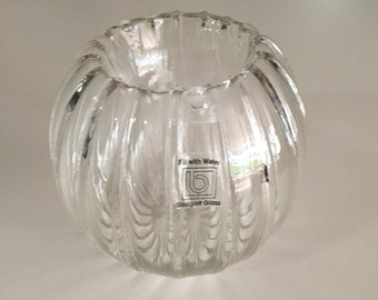 Mid Century Blodgett Art Glass/ Clear Glass Water and Candle Holder/ c.1970s By gatormom13