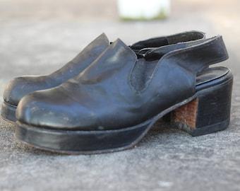 70s Mens Platforms / 1970s vintage mens shoes / 9 1/2