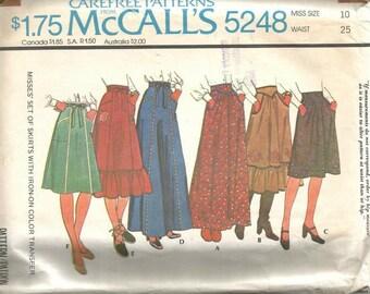 1970s Maxi Skirt Day Length Six Versions Ruffles Wide Waistband McCall's 5248 Size 10 Waist 25 Women's Vintage Sewing Pattern