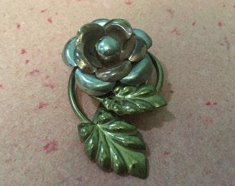 Stunning Vintage Metal Flower Dress Clip Multi Tone SALE