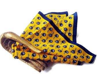 Vintage Italian Square Scarf -Mustard Yellow and Navy - Boselli Italy