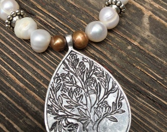 Pearl and Leather Necklace with Tree Pendant
