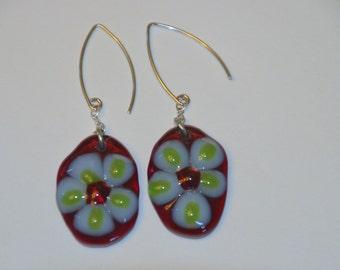 Flower Fused Glass Earrings