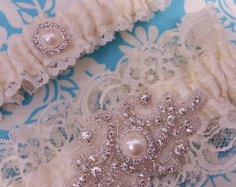 pearl and crystal ivory lacy Wedding Garter set , Ivory Lace with pearl and rhinestones, shabby chic, Crystal garter set, vintage