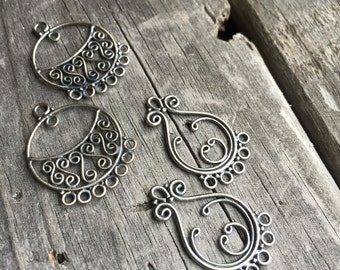 Sterling Silver Round Chandelier Filigree Earring Finding Sterling Silver Jewelry Supply