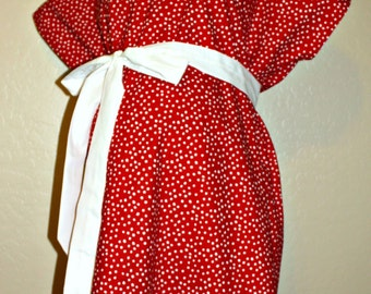LINED Emmy Lou Maternity Hospital Gown - in White Irregular Polka Dots on Red - Lined in the Color of Your Choice- by Mommy Moxie