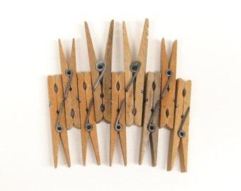 9 Vintage Wood Clothes Pins
