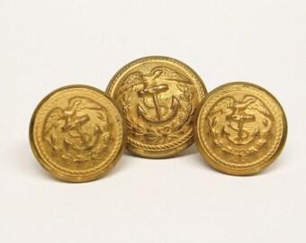 3 Vintage Marine Eagle Anchor Waterbury Buttons