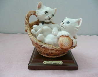 CLEARANCE - Guiseppi Armani Cat Figurine, Two Cats in a Basket