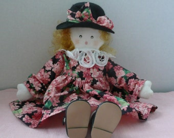 Handmade Cloth Rag Doll in Pink and Black Floral Dress