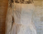 Vintage mesh and lace ivory  taffeta wedding dress gown 26 1/2 waist 34 bust bridal romantic steampunk goth wedding gown