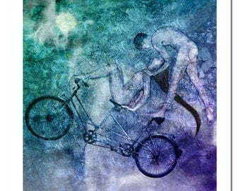Tandem Bike Lucid Mutual Dreaming by Ina Mar, open edition archival (giclee) print. Artwork about ultimate love 16x16, 24x24
