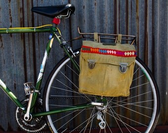 Antique British haversack Panniers with Fairly Traded Peruvian Trim
