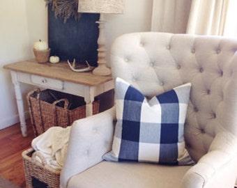 BOTH SIDES / Navy Blue / Cream / Ivory Buffalo Check Pillow Cover Lumbar / 16x16 / 18x18 20x20 22x22 24x24 26x26