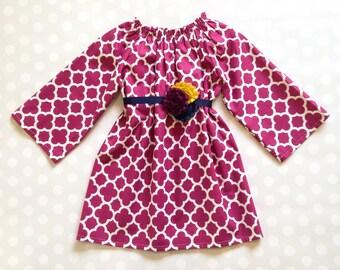 Plum Quatrefoil Dress - Girls Spring Dress - Long Sleeve Dress - Baby Girl Dress - Girls Dresses - Easter Dress - Girls Dresses - Baby Dress
