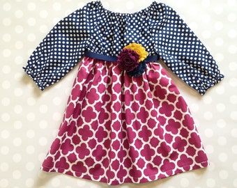All Sizes - Ready to Ship - RTS - Navy and Plum Girl's Spring Dress - Long Sleeve Dress - Baby Girl Dress - Girls Dresses - Baby Dresses