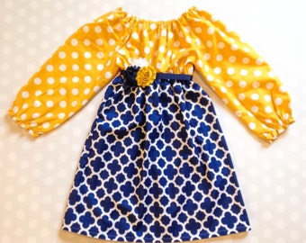 Mustard Polka Dot and Navy Quatrefoil Girl's Fall Dress - Long Sleeve Dress - Baby Girl Dress - Girls Dresses - Fall Dresses