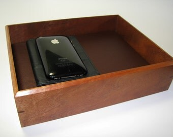 "Exotic Wood Valet Box. Wooden Tray Upholstered in Leather. 9.25"" x 7.5"" x 2.25""."