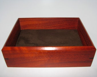 """Valet Tray. Padauk Valet Box. Suede Fabric Upholstered Wooden Tray. 8.5"""" x 6.5"""" x 2.5"""""""