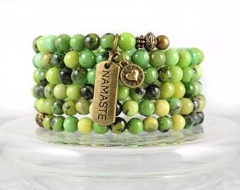 Chrysoprase Wrap Bracelet, Chrysoprase Bracelet, Memory Wire Bracelet, Wrap Bracelet, Yoga Jewelry, Cuff Bracelet, Gem Cuff, Yoga Jewelry