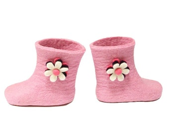 Kids Wool Boots - Pink Boots - Kids Slippers with Rubber Soles 9 Colors Mix and Match Wool Slippers House Shoes Handmade to Order