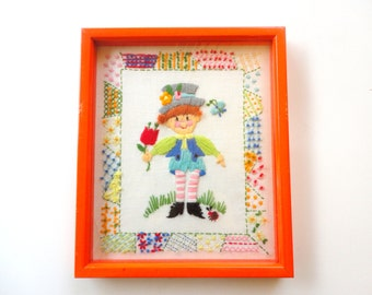 1975 Handmade Embroidered Boy with Flowers Bright Colors Fiber Art