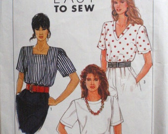 Misses Easy To Sew Pullover Top Pattern - Simplicity 9587 - Sizes 6 - 12, Bust 30 1/2 - 34